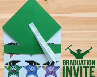 Graduation Invitation for Kids Custom Designed made with Premium Cardstock, Ribbon and Laser Printed