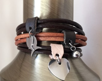 Leather charm bracelet.