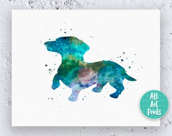 Dachshund Print Dachshund Art Print Dachshund Wall Art Dachshund Painting Watercolor Printable Dachshund Artwork Instant Download Art