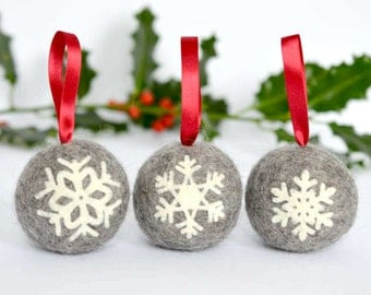 Felted snowflake applique Christmas ball ornaments - set of three handmade Scandinavian style natural grey Norwegian wool tree decorations