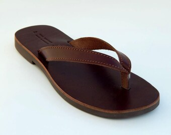 Men's leather sandals (46 - Brown)