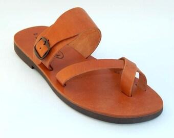 Greek GENUINE Leather Sandals ( MEN) (42 - Brown)