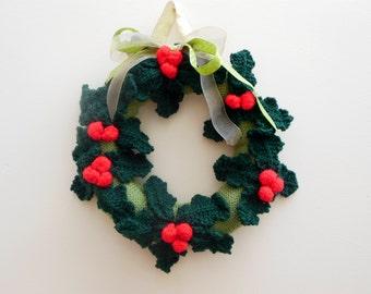 Handmade Christmas Wreath Knit Wreath Holly Wreath Christmas Door Hanger  Christmas trimmings Holiday Decor  Size 26 cm