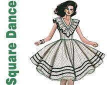 Square Dance Dress, Authentic Patterns 319 Bust 30.5-32.5, Western Dress, Dance Dress, Gored Skirt,Fit and Flare Dress,Pageant Dress Pattern