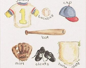 Baseball Print, little boy playing Baseball print, little boy, baseball, print, childrens decor, childrens art, nursery