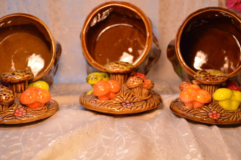 retro vintage ceramic tree trunk mushroom kitchen canisters brown retro vintage ceramic tree trunk mushroom kitchen canisters brown orange yellow harvest