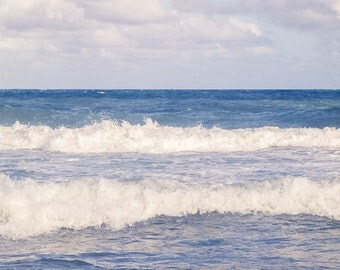 CANVAS ART: Ocean Waves Photo, Abstract Art, Blue Ocean Canvas, Beach Lovers Decor, Ocean Photograph, Seascape, Beach House Decor