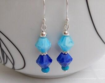 Blue & Silver Bead Drop Earrings, Blue Earrings, Silver Earrings, Dangle Earrings, Gift For Her