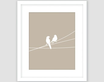 Khaki Brown and White, Birds on a Wire Print, Neutral, Animal Wall Art, Modern Art, Instant Download, DIY, Printable