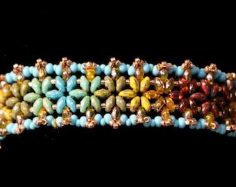 Multicolor beaded Cuff Bracelet