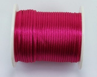 10 meters Hot Pink, 2mm Satin Rattail Cord, Nylon Thread, Jewellery, Knotting, Macrame, Shamballa, Kumihimo Braiding, Crafts 35RSC09-3