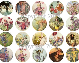Printed Vintage Fairy Images  Circles Collage Sheet   8.5 x 11 for Decoupage, Altered Art, Scrapbooking etc.