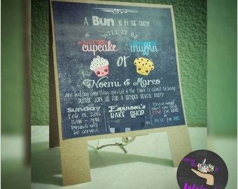 Baby Gender Reveal Invitation. Chalkboard style invitation. Sweet Cupcake or Stud Muffin theme Invitation