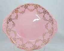 Ridgway potteries Queen Anne Bone China 1950s cake/serving plate, pink and gold