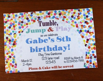 Tumbling Birthday Party Invitation-Digital