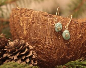 Amazonite Gemstone Dangle Earrings