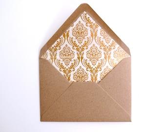 Gold Foil Lined Envelopes. Pack of 10