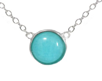 Brazilian Amazonite Gemstone Coin Necklace in Sterling Silver 16'' - 18''
