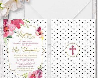 Pink Floral Christening or Baptism Invitation | Black or White Background | Printed On Luxe Double Sided Cardstock