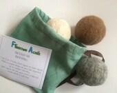 Alpaca Dryer Balls - 100% Alpaca Fiber - Hand Felted - Set of 3