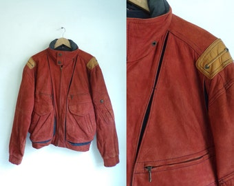35%offJuly21-24 mens suede nautical coat size small, brick red suede leather coat, mens suede jacket, 80s maritime, mens coat mens small