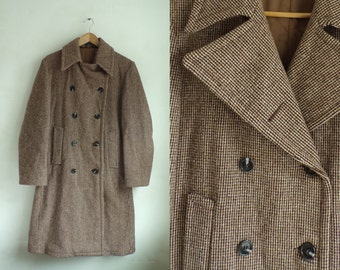 40%OffJune23-26 60s mens wool overcoat size 38 / small, brown plaid wool double breasted coat, 1960s mad men mens coat