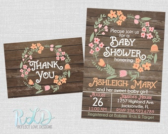 Wood & Floral Baby Shower Invitation and Thank You Card Package Digital Printable File