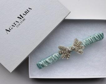 Aqua Blue Luxury Wedding Garter, Something Blue Bridal Garter