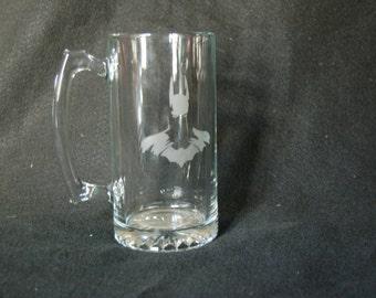 Batman etched glass mug