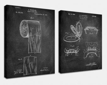 Bathroom Set Canvas Art,Patent Print Poster,Patent Print Art,Home Decor,Patent Wall Art,Vintage Art,Vintage Patent Set [PPES0040-C]