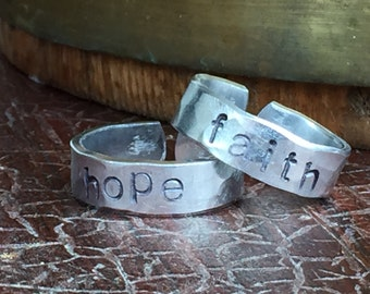 "Hope and Faith 1/4"" Wide Single Wrap Ring Set Adjustable Hand Hammered Texture Artisan Handmade Custom Jewelry Sizes 3-14"