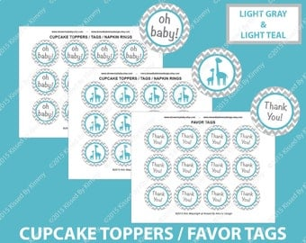 Teal Gray Baby Shower Decorations - Giraffe Thank You Tags - PRINTABLE Baby Shower Cupcake Toppers - Light Gray Light Teal - Favor Tags