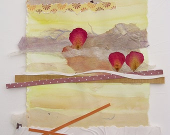 Collage on watercolor painting, original with Japanese handmade paper, contemporary abstract, yellow,peach,red, rose petals,browns,lavender