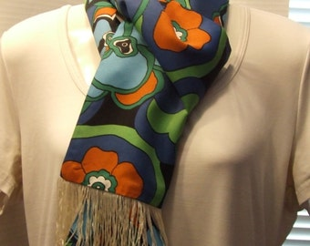 Vintage Groovy Scarf, Long Scarf with Fringe, Hair Accessory Scarf, Funky Scarf, Hair Scarf, Vintage Vibrant Long Scarf, Scarf