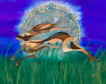 A4 giclée print 'Racing the Moon' by Kirsty Mills.