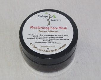 All Natural Moisturizing Face Mask, Oatmeal and Banana, Clay Face Mask, Sensitive Skin Face Mask