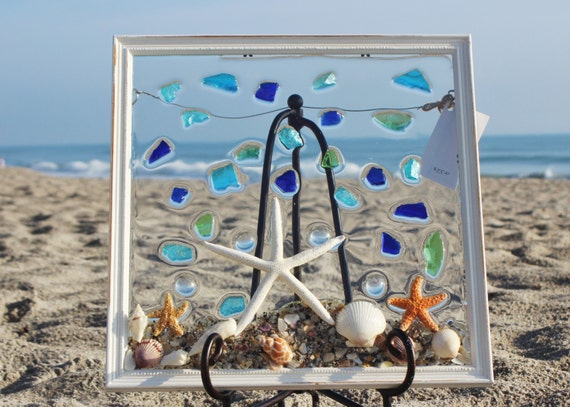 Sea glass art windowbest beach art beach artworkbest selling for Unique beach house decor