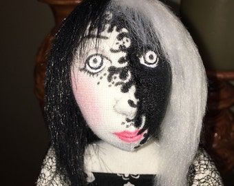 OOAK soft sculpture cloth doll, CONFLICTED or BALANCED , black and white