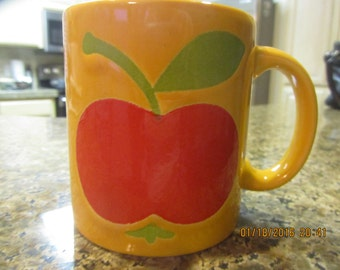 Waetchersbach made in Germany bright yellow coffee mug with red apple design