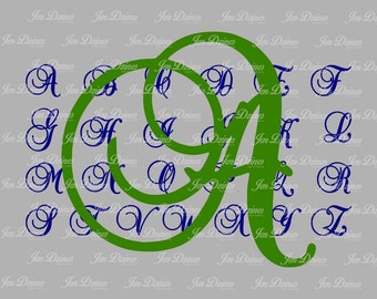 Single Letter Monogram SVG DXF EPS, Initial Monogram, single letter, fancy monogram files,  svg monogram Font, svg cutting files for Cricut