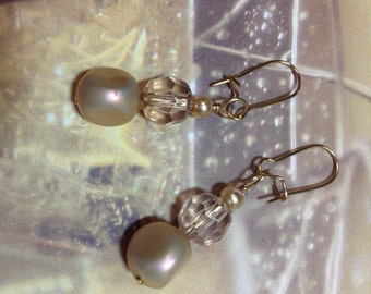 """Pearly """"Champagne"""" earrings/hoop charms from CharmingHoopHangers"""