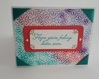 Handmade Get Well Card, Blank notecard