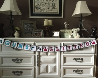 Guns or Glitter Gender Reveal Banner, Gender Reveal Banner, Blue Guns, Pink Crowns