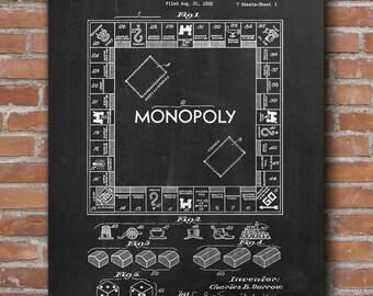 Monopoly Patent Print, Monopoly Patent, Board Game Art, Monopoly Blueprint, Board Games - DA0466