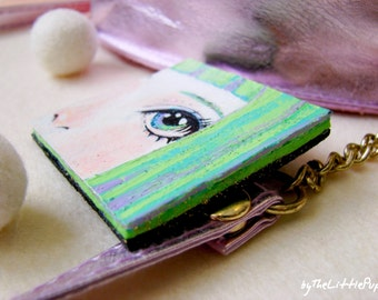 Big eye brooch, Wearable art jewelry, Anime pin, Kawaii design