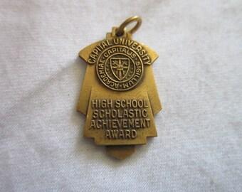 1939 Antique Art Deco Golden Bronze Capital University HS Achievement Award Charm Balfour