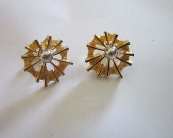 Vintage Gold and Silver Tone Retro Starburst Sun Burst? Cuff Links