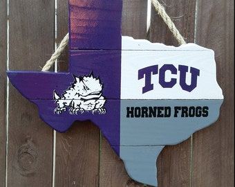 Rustic Wooden TCU Texas Shaped Flag Door/Wall Hanging