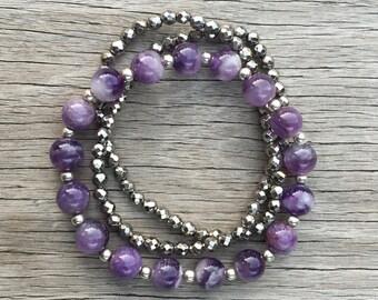 Purple Amethyst with Sterling Gemstone Beaded Bracelet / Stretch Stacking Yoga Bracelet / Bohemian Natural Beadwork / Crystal Inspired