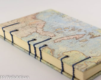 Handmade Coptic Stitch Map Journal - 160 pages
